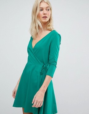 photo Jersey Wrap Dress by Vero Moda, color Jewel Green - Image 1