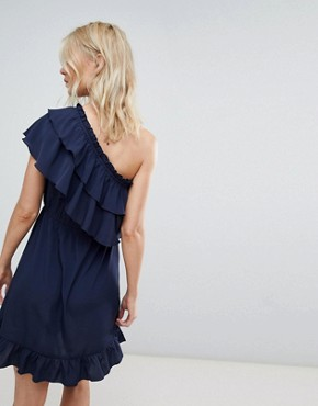 photo One Shoulder Ruffle Dress by Vero Moda, color Navy - Image 2