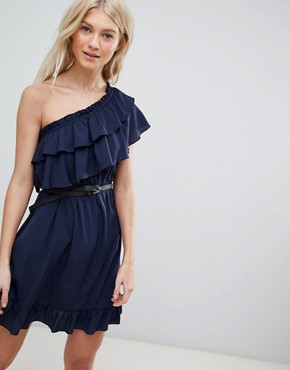 photo One Shoulder Ruffle Dress by Vero Moda, color Navy - Image 1