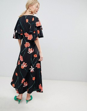 photo Printed Flutter Sleeve Wrap Maxi Dress by Vero Moda, color Black Floral - Image 2