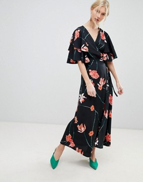 photo Printed Flutter Sleeve Wrap Maxi Dress by Vero Moda, color Black Floral - Image 1