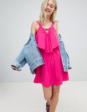 photo Lace Up Front Dress by Vero Moda, color Fuchsia Pink - Image 1