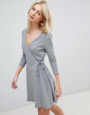 photo Jersey Wrap Dress by Vero Moda, color Grey - Image 1