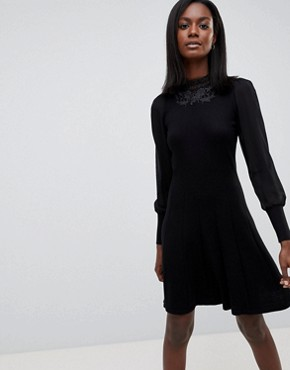 photo High Neck Lace Dress by Oasis, color Black - Image 1