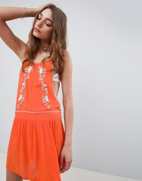 photo High Neck Embroidered Dress with Cut Out Sides by Kiss the Sky, color Red - Image 1