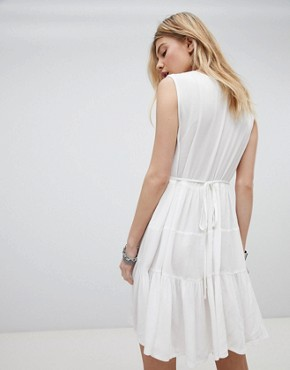 photo Embroidered Boho Dress with Plunge Front by Kiss the Sky, color Cream - Image 2