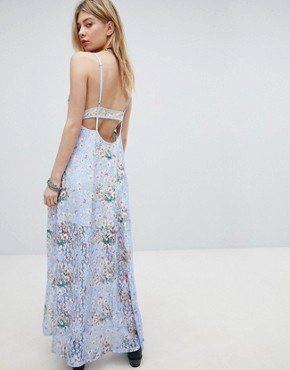photo Lace Maxi Dress with Front Split and Cut Out Back by Kiss the Sky, color Purple - Image 2