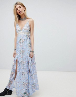 photo Lace Maxi Dress with Front Split and Cut Out Back by Kiss the Sky, color Purple - Image 1