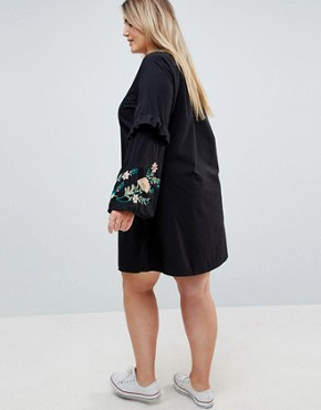 photo Embroidered Dress with Frill Detail by Junarose, color Black - Image 2