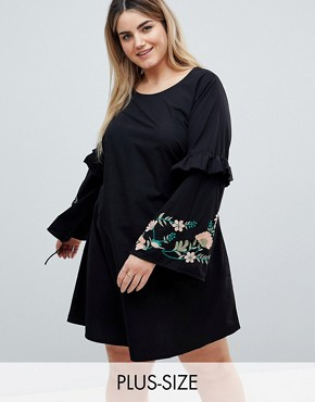 photo Embroidered Dress with Frill Detail by Junarose, color Black - Image 1