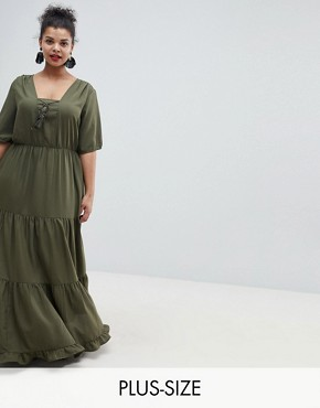photo Prairie Maxi Dress with Tassel Detail by Junarose, color Green - Image 1