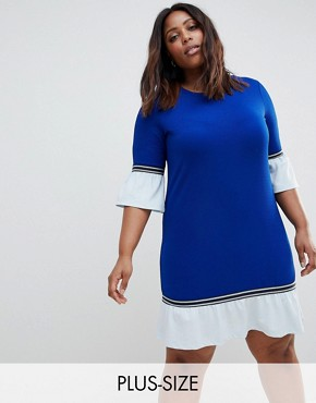 photo Sporty Shift Dress with Frill by Junarose, color Blue - Image 1