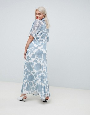 photo Retro Bloom Kimono Maxi Dress by Junarose, color Multi - Image 2
