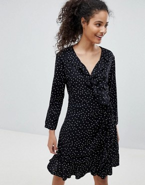 photo Emma Polka Dot Wrap Dress by Only, color Black/White Dots - Image 1
