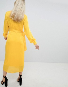 photo Button Through Dress in Jacquard by ASOS DESIGN, color Yellow - Image 2