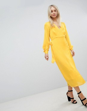 photo Button Through Dress in Jacquard by ASOS DESIGN, color Yellow - Image 4