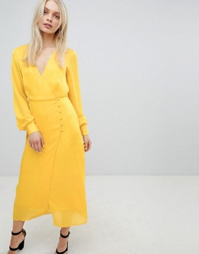 photo Button Through Dress in Jacquard by ASOS DESIGN, color Yellow - Image 1