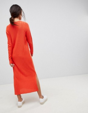photo Midi Dress in Pleated Wide Rib by ASOS DESIGN, color Orange - Image 2