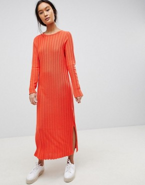 photo Midi Dress in Pleated Wide Rib by ASOS DESIGN, color Orange - Image 1