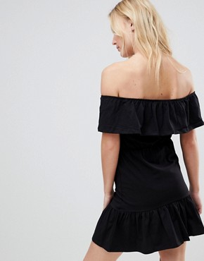 photo Off Shoulder Sundress with Tiered Skirt by ASOS DESIGN Tall, color Black - Image 2