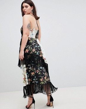 photo Fringe Cami Midi Dress in Mixed Floral Print by ASOS DESIGN Curve, color Multi - Image 2