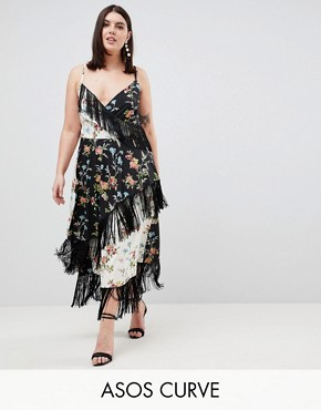 photo Fringe Cami Midi Dress in Mixed Floral Print by ASOS DESIGN Curve, color Multi - Image 1