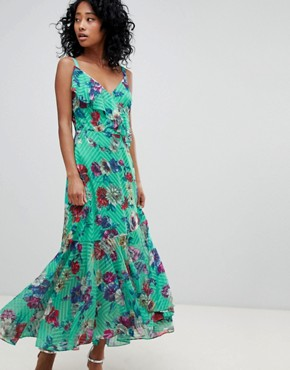 photo Floral Print Ruffle Front Maxi Dress by ASOS DESIGN, color Multi - Image 1
