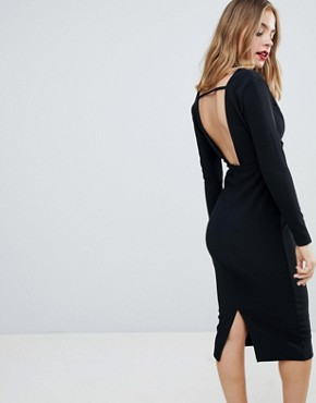 photo Long Sleeve Exposed Underwire Bodycon Midi Dress by ASOS DESIGN Petite, color Black - Image 2