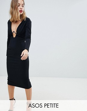 photo Long Sleeve Exposed Underwire Bodycon Midi Dress by ASOS DESIGN Petite, color Black - Image 1