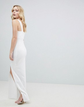 photo Square Neck Scuba Maxi Dress with Thigh Split by ASOS DESIGN Tall, color Ivory - Image 2