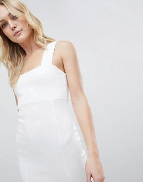 photo Square Neck Scuba Maxi Dress with Thigh Split by ASOS DESIGN Tall, color Ivory - Image 3