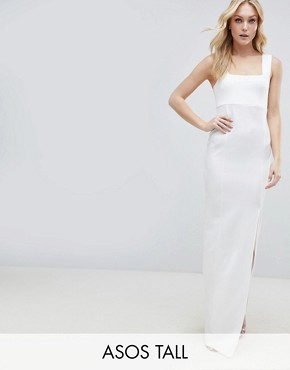 photo Square Neck Scuba Maxi Dress with Thigh Split by ASOS DESIGN Tall, color Ivory - Image 1