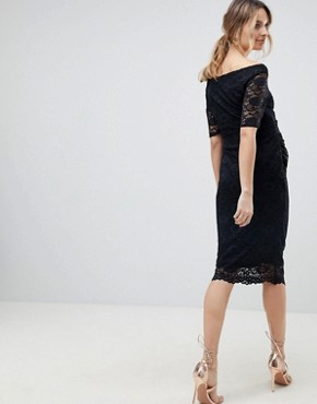 photo Maternity Bardot Dress with Half Sleeve in Lace by ASOS DESIGN, color Black - Image 2