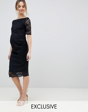 photo Maternity Bardot Dress with Half Sleeve in Lace by ASOS DESIGN, color Black - Image 1