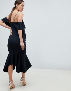 photo Maternity Ruffle Cold Shoulder Asymmetric Pephem Midi Dress by ASOS DESIGN, color Black - Image 2