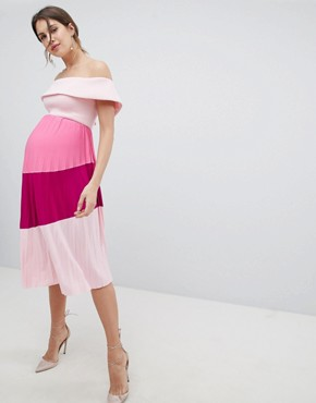 photo Maternity Scuba Bardot Colourblock Pleated Midi Dress by ASOS DESIGN, color Pink/Purple - Image 2
