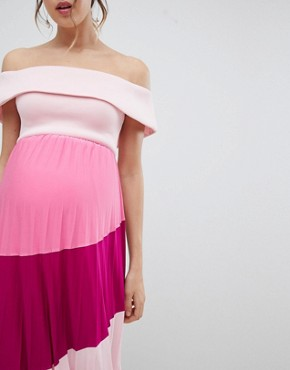 photo Maternity Scuba Bardot Colourblock Pleated Midi Dress by ASOS DESIGN, color Pink/Purple - Image 1