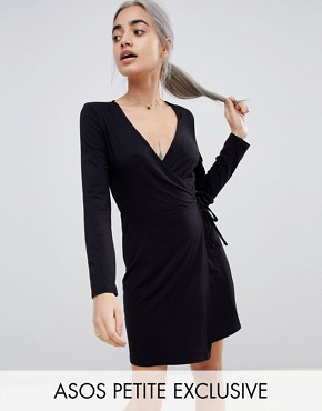 photo Mini Wrap Dress with Long Sleeve by ASOS DESIGN Petite, color Black - Image 1