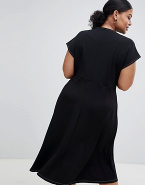 photo Fit and Flare Midi Dress with Contrast Stitching by ASOS DESIGN Curve, color Black - Image 2