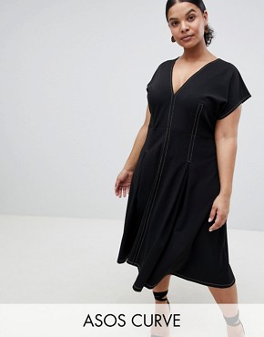 photo Fit and Flare Midi Dress with Contrast Stitching by ASOS DESIGN Curve, color Black - Image 1