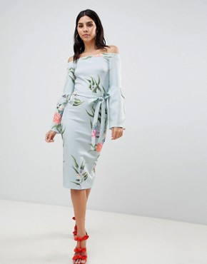 photo Bardot Dress with Flare Sleeves by True Violet, color Multi - Image 1