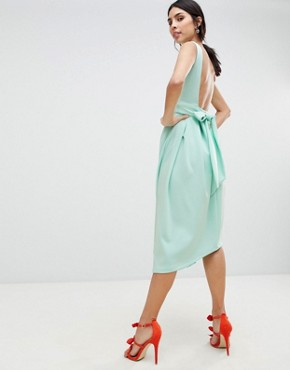 photo High Low Volume Dress with Bow by True Violet, color Green - Image 2