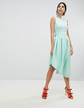 photo High Low Volume Dress with Bow by True Violet, color Green - Image 1