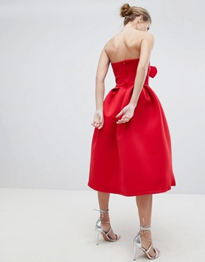 photo Bandeau Skater Dress with Bow Detail by True Violet, color Red - Image 2