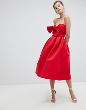 photo Bandeau Skater Dress with Bow Detail by True Violet, color Red - Image 1