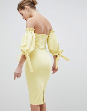 photo Bardot Midi Dress with Tie Sleeve by True Violet, color Yellow - Image 2