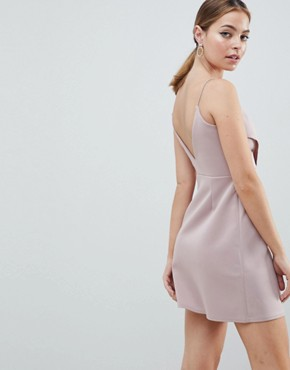 photo Cami Button Wrap Mini Shift Dress by ASOS DESIGN Petite, color Mink - Image 2