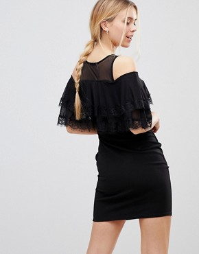 photo Cold Shoulder Midi Dress with Tipped Frill by Girls on Film, color Black - Image 2