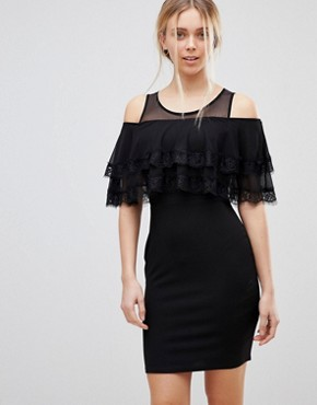 photo Cold Shoulder Midi Dress with Tipped Frill by Girls on Film, color Black - Image 1