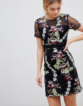 photo Floral Embroidered Mini Dress by Girls on Film, color Multi - Image 1